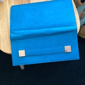 Melie Bianco Bags - Clutch bag, turquoise leather and blue suede